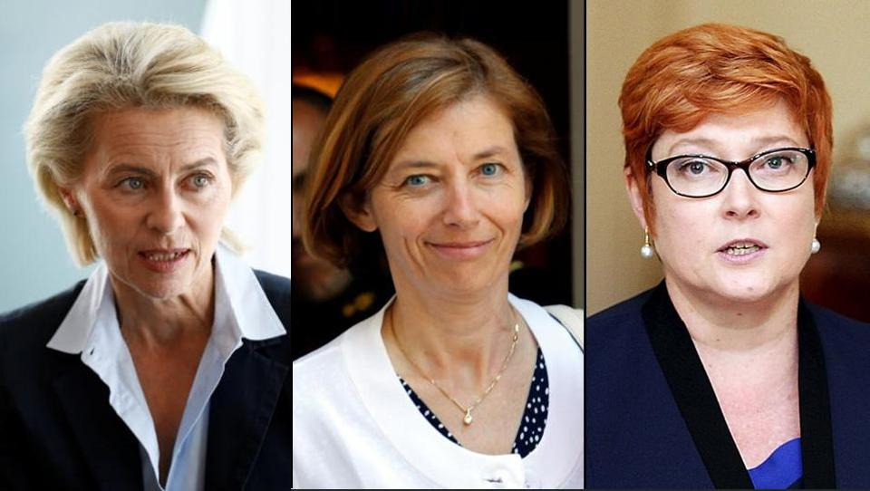 Defence ministers Ursula von der Leyen (Germany), Florence Parly (France) and Marise Payne (Australia).