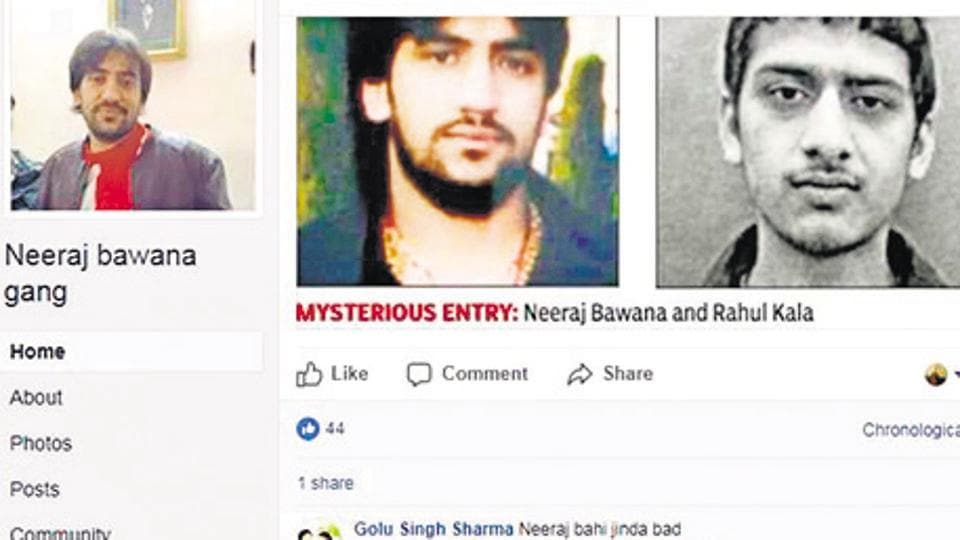 A screen grab of  gangster Neeraj Bawana's FB account. Most city dons have their own pages but the accounts are not verified.