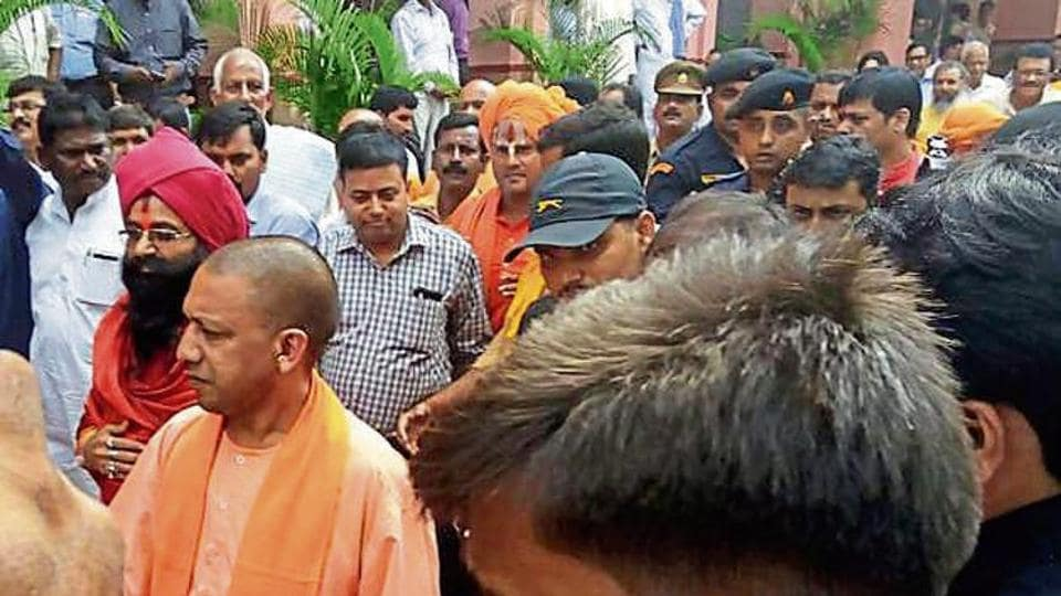 Uttar Pradesh chief minister at the Gorakhnath temple in Gorakhpur on Sunday.