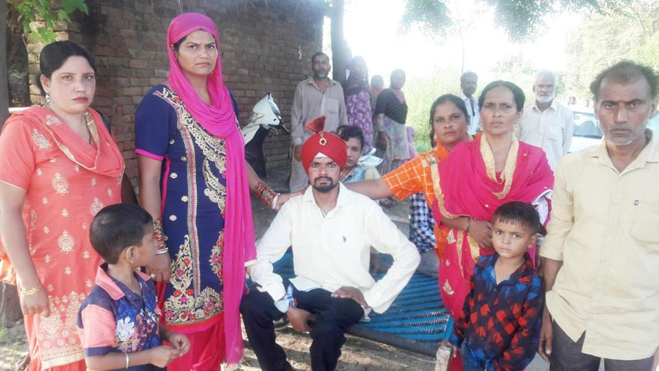 The groom with his relatives after the girl refused to marry him.