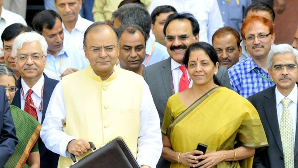 Arun Jaitley with Nirmala Sitharaman during the budget presentation early this year.