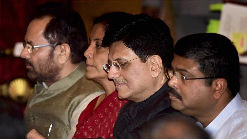 Cabinet Ministers Piyush Goyal, Nirmala Sitharaman, Mukhtar Abbas Naqvi And  Dharmendra Pradhan At The