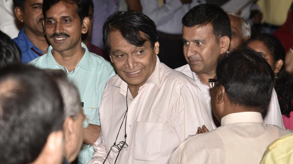 Suresh Prabhu after the reshuffle at Rashtrapati Bhawan during ceremony in New Delhi.