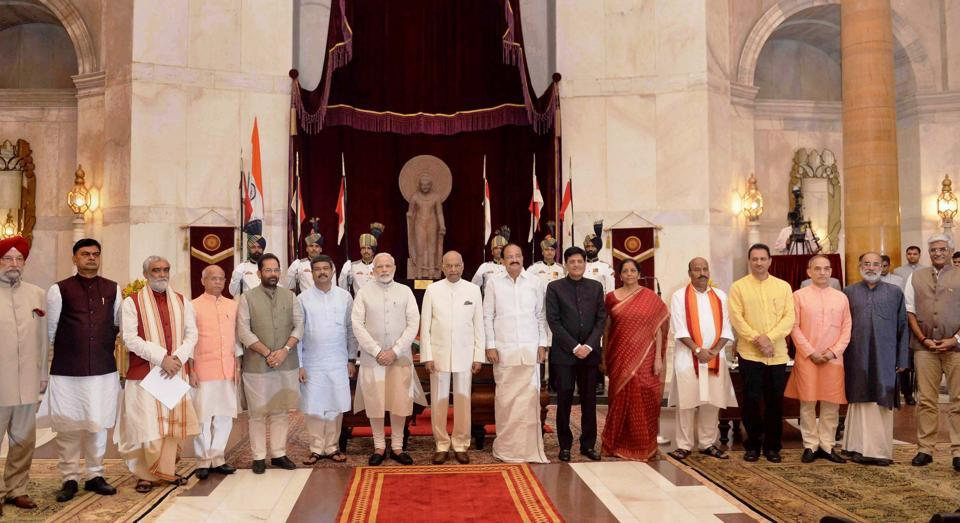 President Ram Nath Kovind, vice president M Venkaiah Naidu and Prime Minister Narendra Modi with newly sworn-in ministers, at Rashtrapati Bhavan in New Delhi on Sunday.