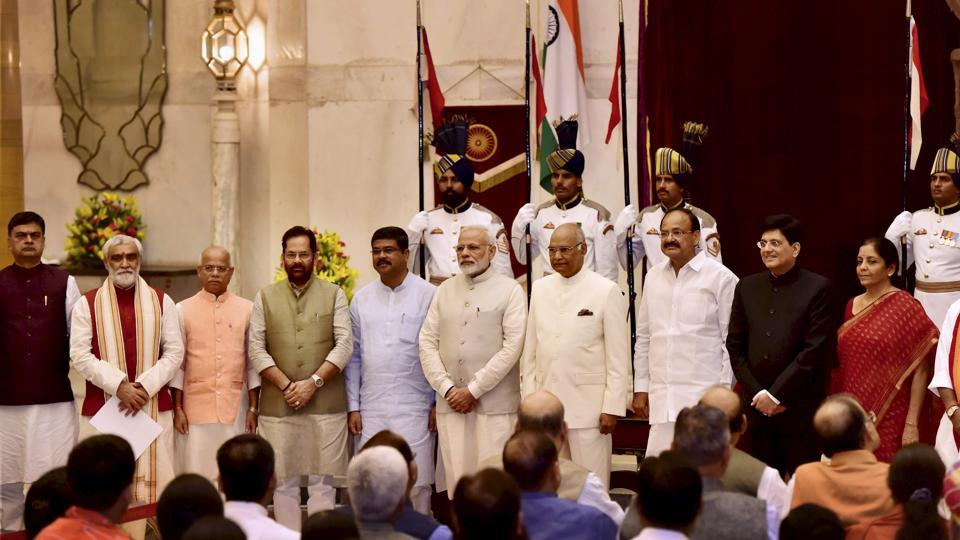 President Ram Nath Kovind, vice president M Venkaiah Naidu and Prime Minister Narendra Modi pose with some of the new members of the Union cabinet after a reshuffle exercise, at the Rashtrapati Bhavan in New Delhi on Sunday.