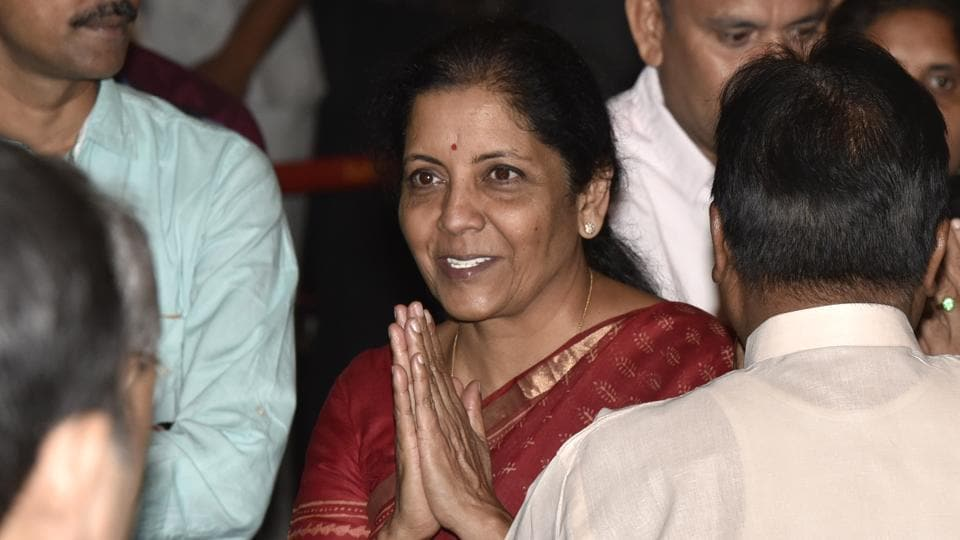 Nirmala Sitharaman after being sworn-in as a Union cabinet minister by President Ram Nath Kovind at Rashtrapati Bhavan in New Delhi on September 3, 2017.