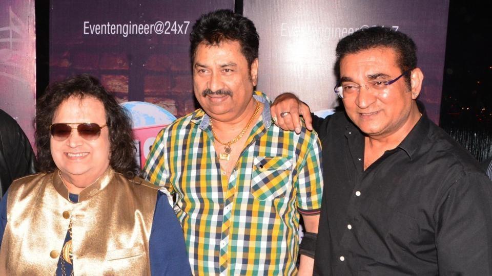 Bappi Lahiri, Kumar Sanu and Abhijeet at an event to celebrate Kishore Kumar's 88th birth anniversary in Kolkata.