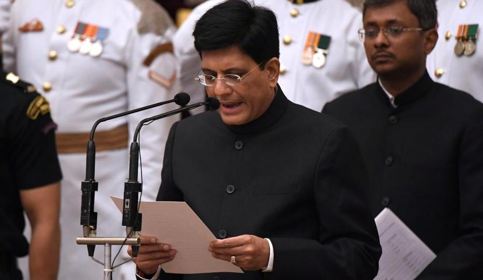 BJP politician and member of Parliament Piyush Goyal takes oath during the swearing-in ceremony of new ministers at the Presidential Palace in New Delhi.