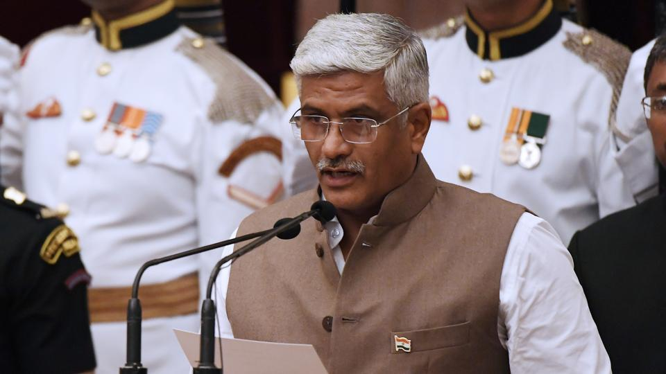 Gajendra Singh Shekhawat takes oath during the swearing-in ceremony of new ministers at the Presidential Palace in New Delhi on Sunday.