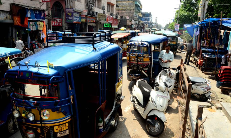 Haphazard parking of auto-rickshaws leads to traffic congestion on Upper Road in Haridwar.