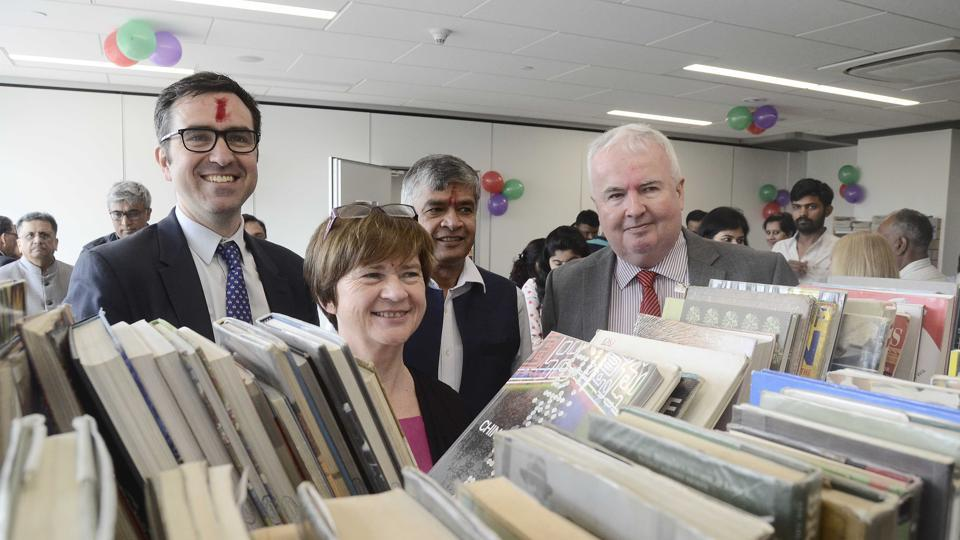 British Council inaugurates its new cultural centre. The new library will feature over 10,000 books, DVD's, popular UK newspapers and magazines and 1,15,000 e-books and journals.  From Left - Alen Gemmell OBE, Helen Silvester, Sumit Mullick and Colin Wells in Pune on Sunday.