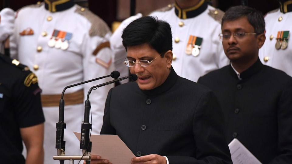 Bharatiya Janata Party leader and member of parliament Piyush Goyal takes oath during the swearing-in ceremony of new ministers at the Presidential Palace in New Delhi on Sunday.