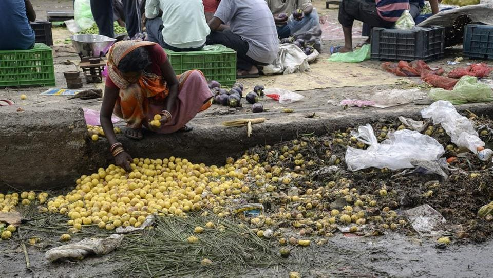 An Indian woman picks out lemons left discarded as rotten on the edge of a vegetable market in Jalandhar on September 2, 2017. Despite decades of fast economic growth, India still struggles to feed its 1.2-billion population adequately, with high rates of malnutrition.  (SHAMMI MEHRA / AFP)