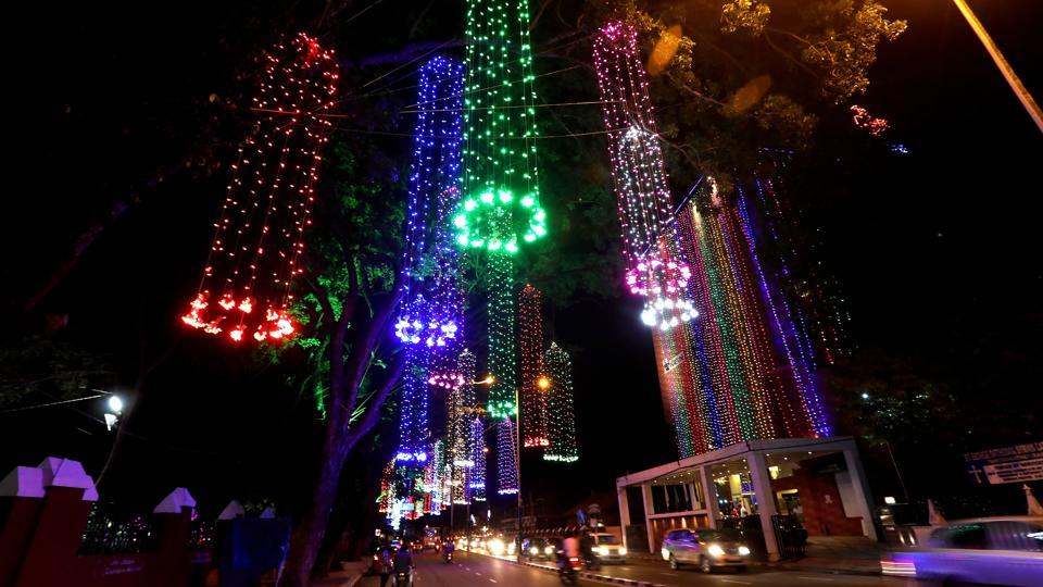 The state capital  of Thiruvananthpuram is decked up with colourful lights for the festival.
