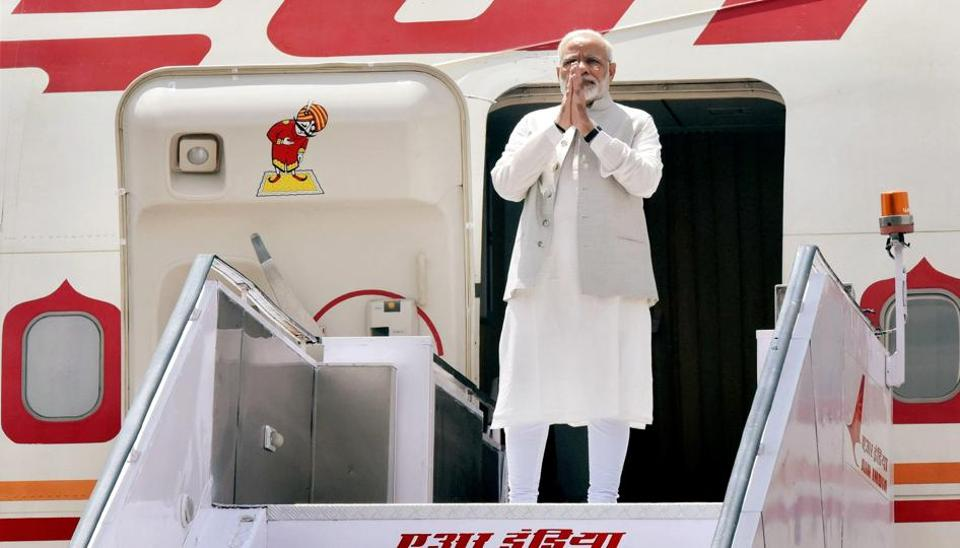 Prime Minister Narendra Modi emplanes for China to attend the 9th BRICS Summit, in Xiamen, at AFS Palam in New Delhi on Sunday.