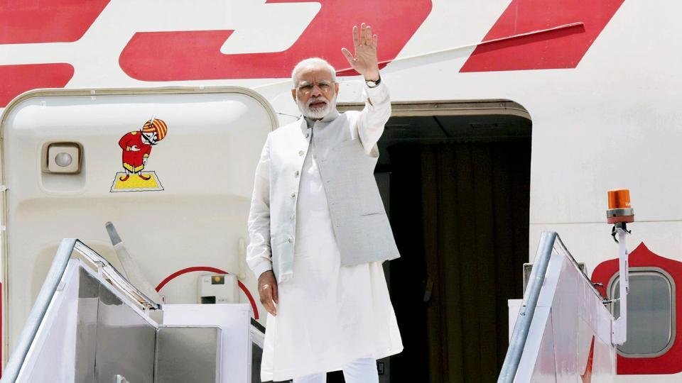 Prime Minister Narendra Modi emplanes for China at AFS Palam in New Delhi on Sunday to attend the 9th BRICS Summit in Xiamen.