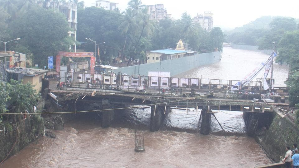 The Dahisar river was swollen after Tuesday's rains.
