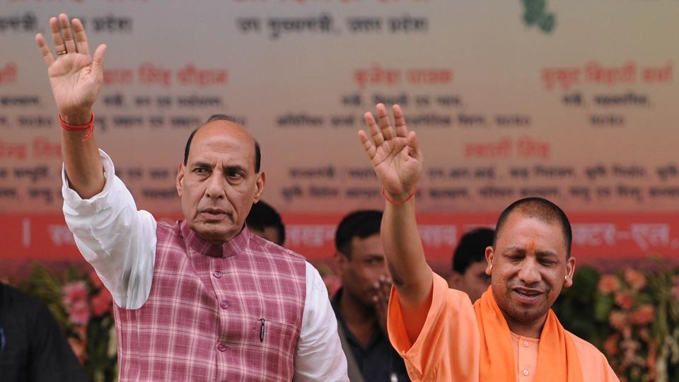 Union home minister Rajnath Singh and Uttar Pradesh chief minister Yogi Adityanath.