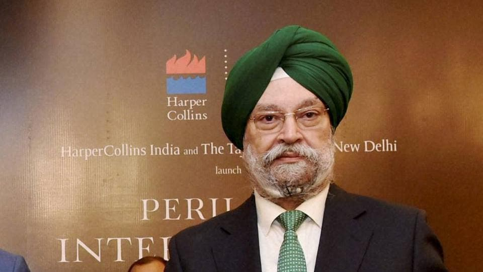 Hardeep Singh Puri at the launch of his book in New Delhi.