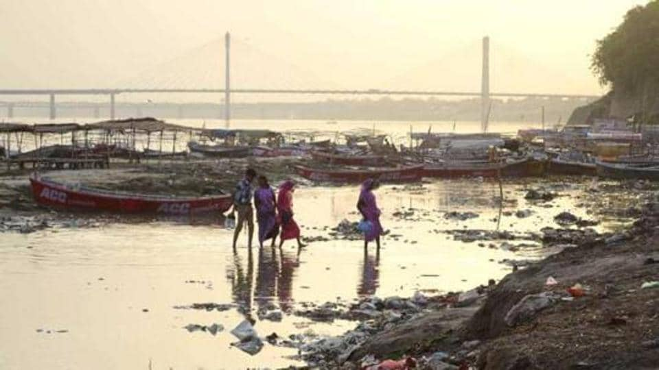 Banks of River Ganga filled with garbage at Sangam in Allahabad.