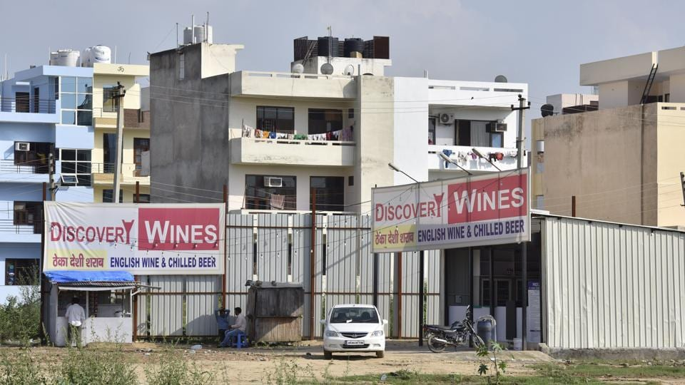 Excise teams measure liquor vend,distance from school and residential area,Gurgaon Excise Department