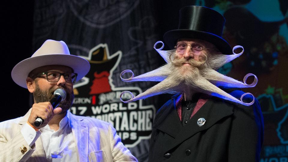 Full Beard Freestyle 3rd place winner, Aarne Bielefeldt, at the 2017 at the 2017 Remington Beard Boss World Beard & Moustache Championships held at the Long Center for the Performing Arts on September 3, 2017 in Austin, Texas.