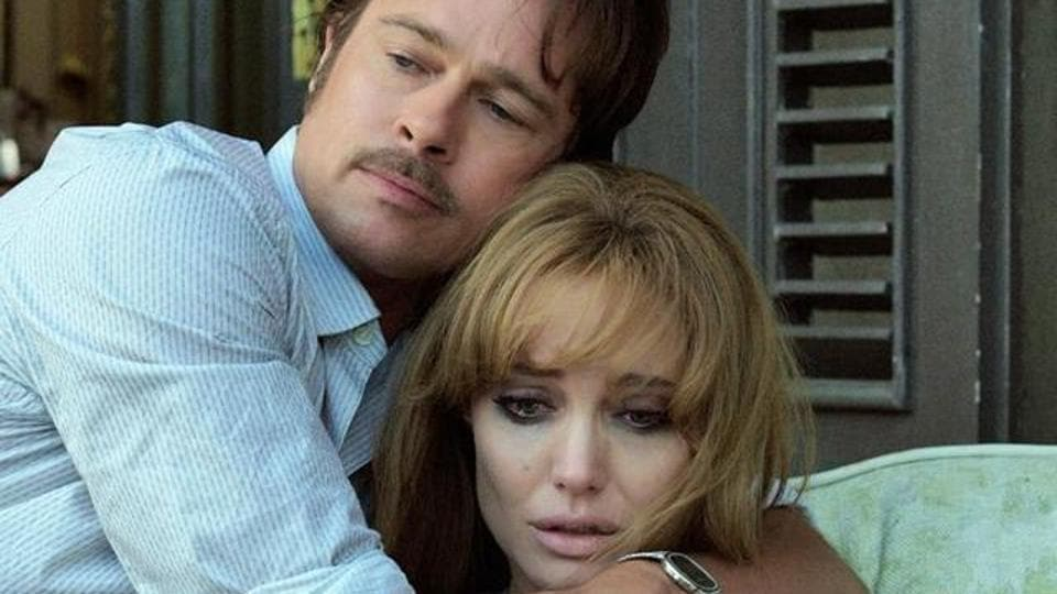 Angelina Jolie and Brad Pitt in a still from their film, By the Sea.