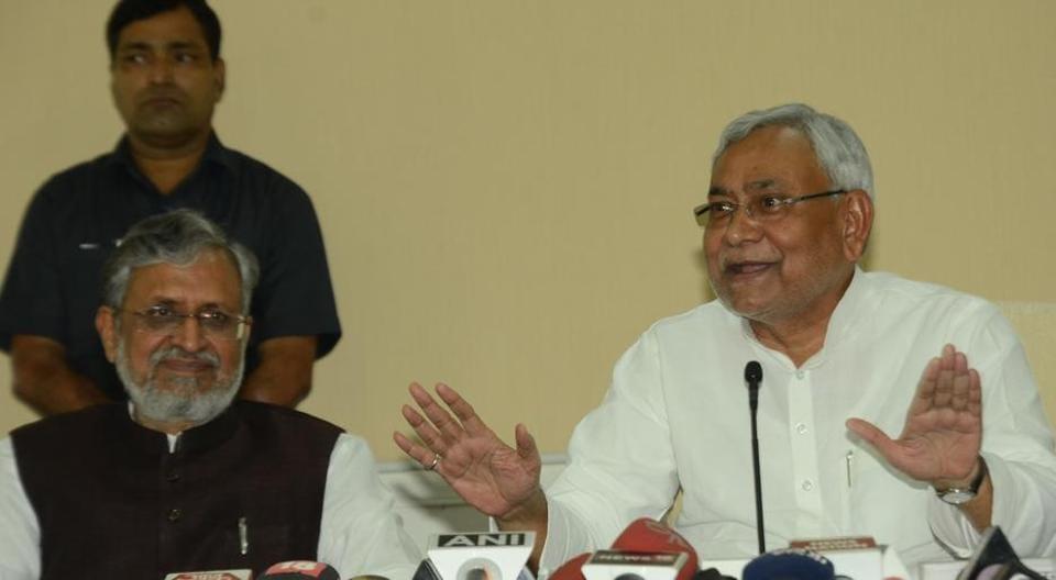 Bihar CM Nitish Kumar (right) with deputy CM Sushil Modi, in Patna on