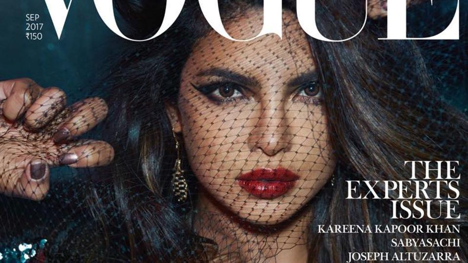 Priyanka Chopra on the cover of Vogue magazine.