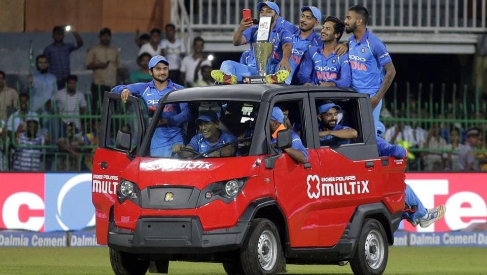 MS Dhoni, with all other Indian cricketers, was seen driving through the entire R Premadasa stadium after securing a 5-0 sweep over Sri Lanka.