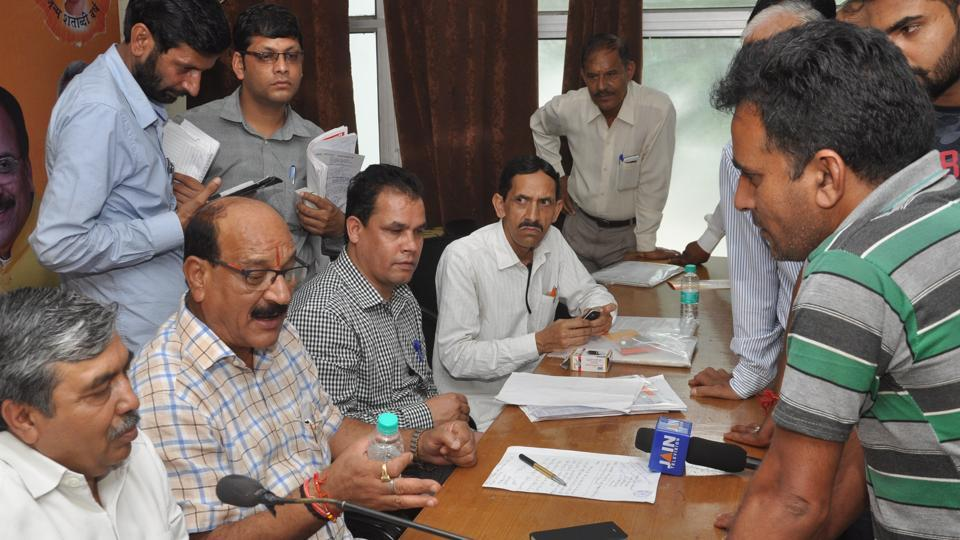 Agriculture minister Subodh Uniyal at the BJP state headquarters in Dehradun on Monday.