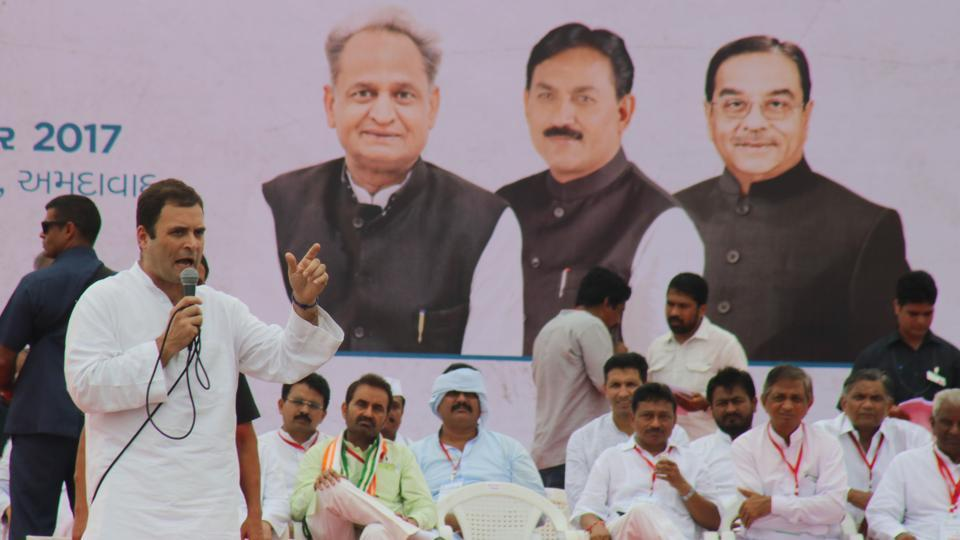 Congress vice president Rahul Gandhi at an interaction programme with party workers  at Sabarmati riverfront in Ahmedabad on Monday.
