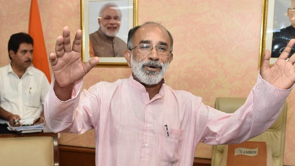 Alphons Kannanthanam, the new Minister of State (Independent charge) for Tourism talking to media as he take over charge of his office in New Delhi on Monday.