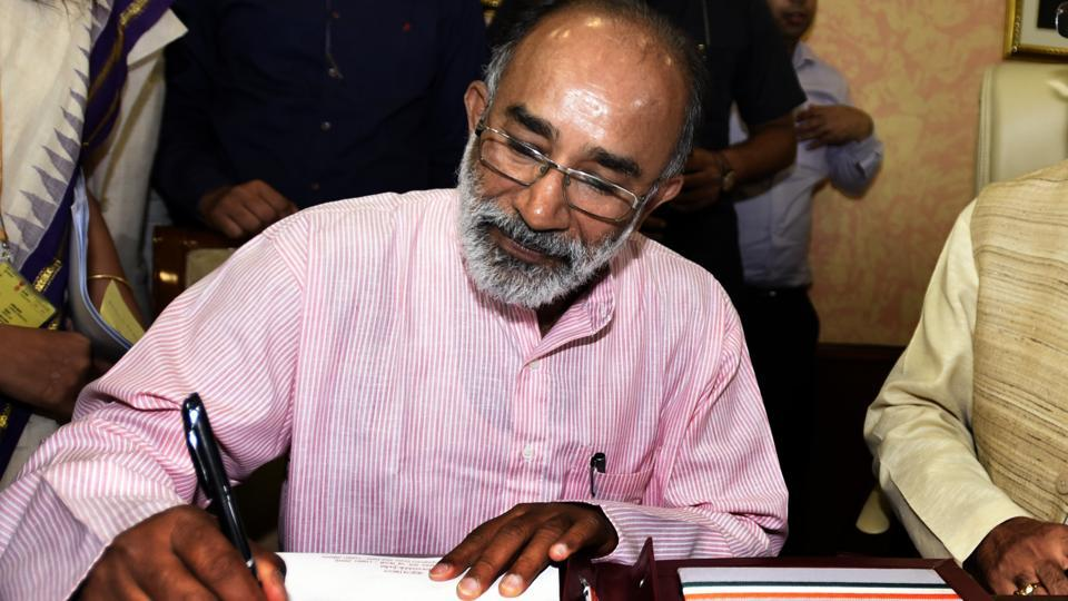 Alphons Kannanthanam, Minister of State (Independent Charge) for Tourism, takes over charge in his office at Transport Bhawan in New Delhi, India on September 4, 2017.