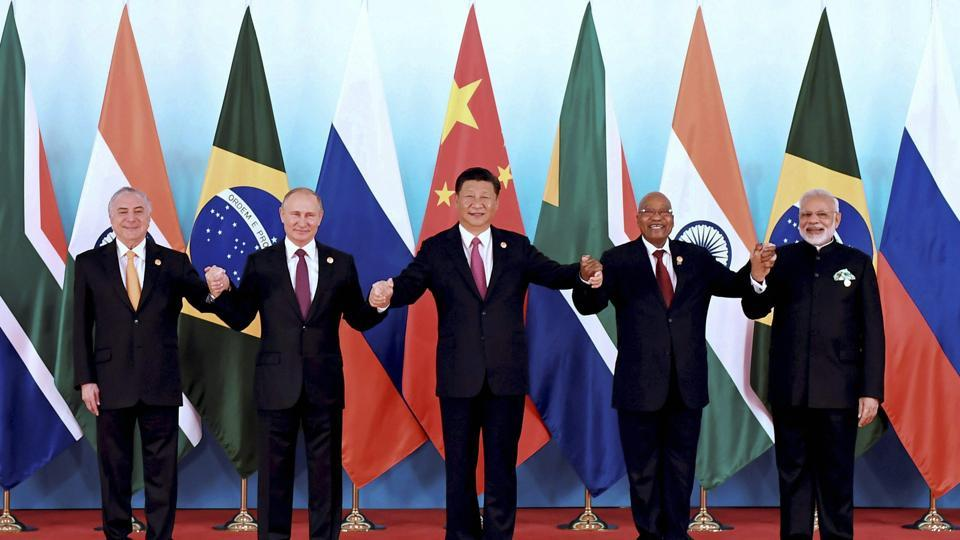 BRICS leaders from left: Brazilian President Michel Temer, Russian President Vladimir Putin, Chinese President Xi Jinping, South African President Jacob Zuma, and Indian Prime Minister Narendra Modi.