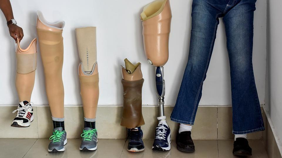 Prosthetic legs at a fitness workshop organised in Chembur in Mumbai. (Kunal Patil/HT Photo)
