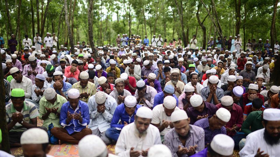 Rohingya refugees offer Eid prayer at Kutupalong refugee camp in Ukhiya near the Bangladesh-Myanmar border on Saturday.