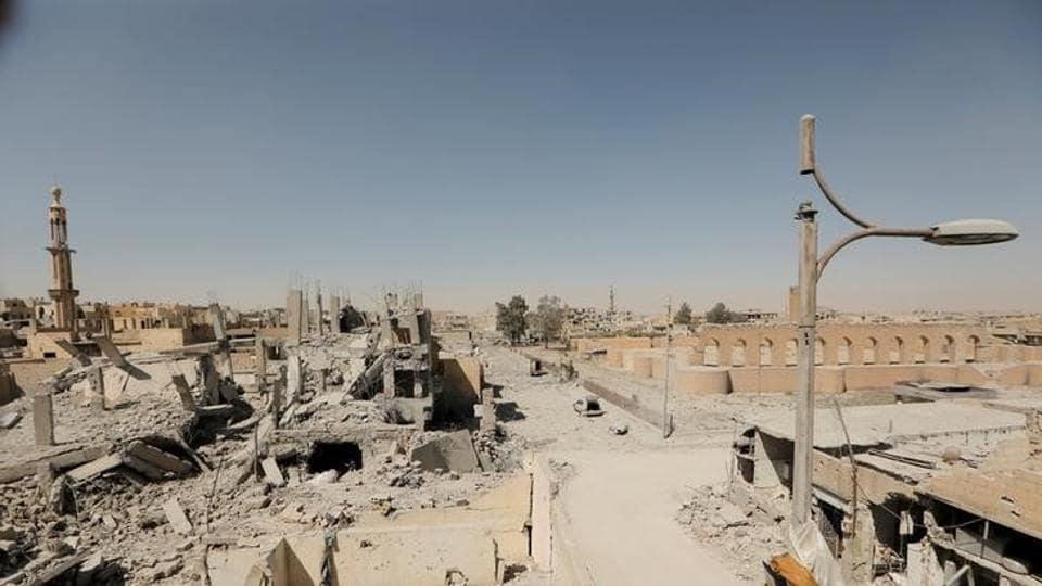 Damaged buildings are pictured during the fighting with Islamic State fighters in the old city of Raqqa, Syria, on August 19, 2017.