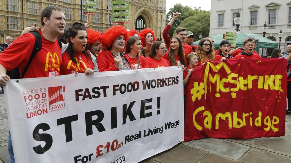 McDonald's workers stage company's first strike in Britain ...