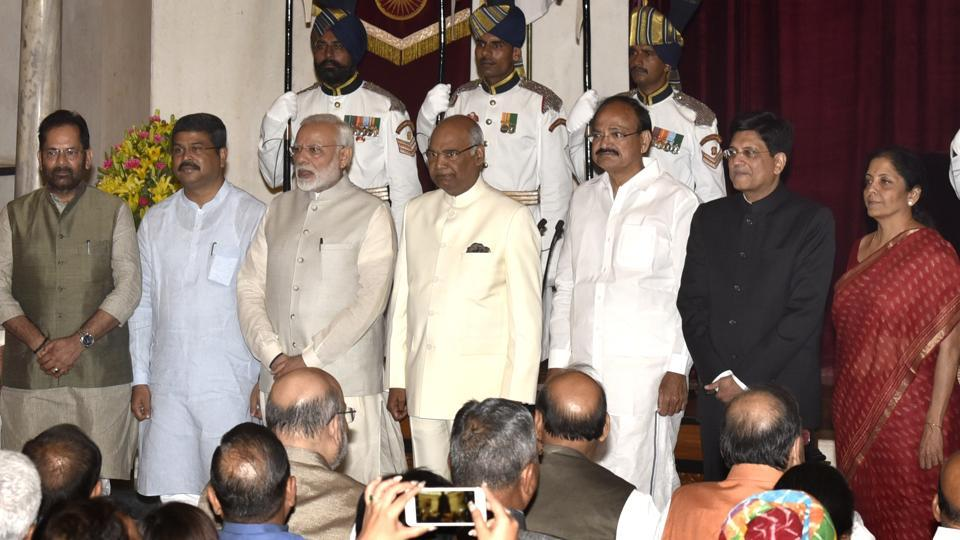 President Ram Nath Kovind, Vice President M Venkaiah Naidu and Prime Minister Narendra Modi with the new ministers after the cabinet reshuffle in New Delhi on Sunday.