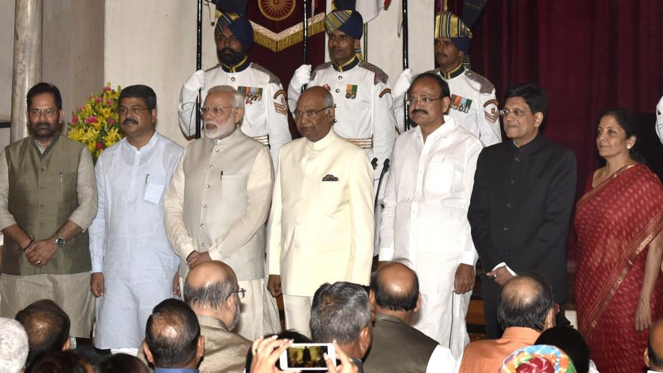 President Ram Nath Kovind, Vice President M. Venkaiah Naidu, PM Narendra Modi pose with new Union Cabinet Ministers Mukhtar Abbas Naqavi,Dharmendra Pradhan, Piyush Goyal, Nirmala Sitharaman after the reshuffle at Rashtrapati Bhavan in New Delhi, India, on September 3, 2017.