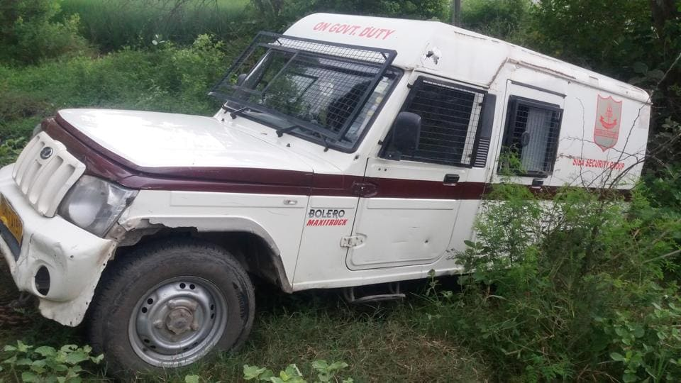 The Punjab National Bank's cash van that came under attack by robbers near Bir Sahib village in Tarn Taran on Monday.