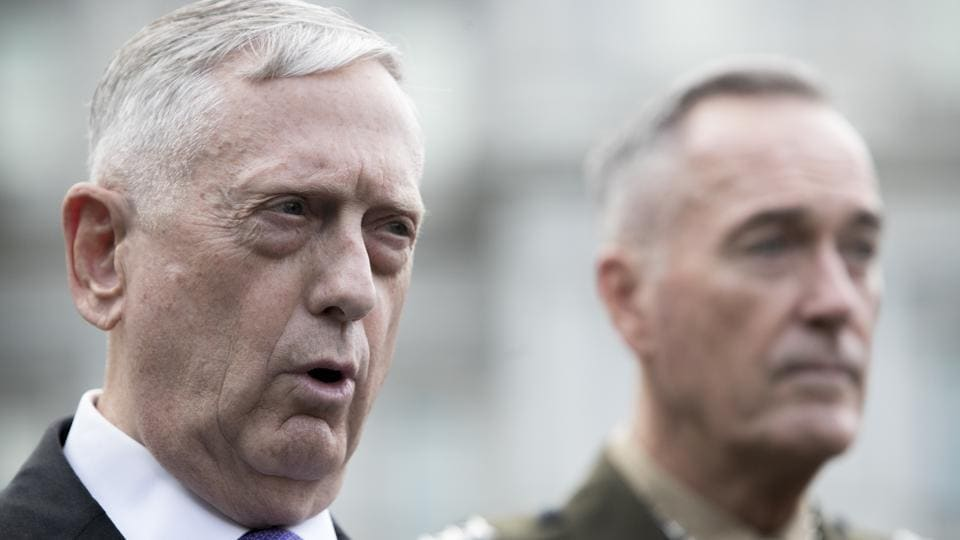 US Secretary of Defense Jim Mattis (Left) and Joint Chiefs Chairman Gen. Joseph Dunford after meeting President Donald Trump at the White House in Washington, on Sunday.