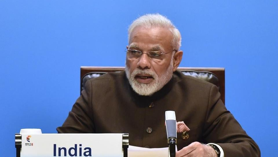 Prime Minister Narendra Modi delivers a speech ahead of the signing ceremony of BRICS business council at the summit in Xiamen, China, on Monday.