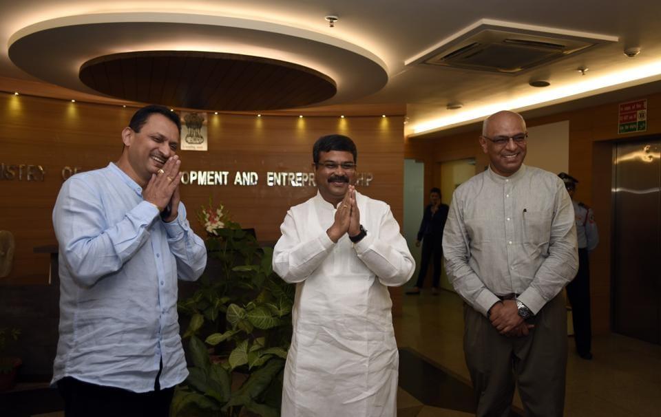 Minister of skill development and entrepreneurship Dharmendra Pradhan and MoS Anant Kumar Hegde (left) with KP Krishnan, secretary, MSDE, in New Delhi on Monday.