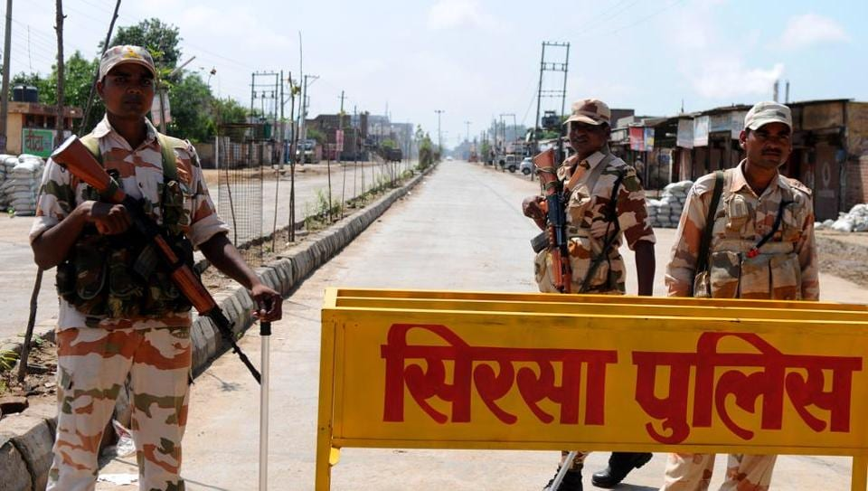 Areas beyond MSG Chowk in Sirsa, where the old and new deras of Sacha Sauda are located, still under a curfew, 10 days after conviction of sect head Gurmeet Ram Rahim.