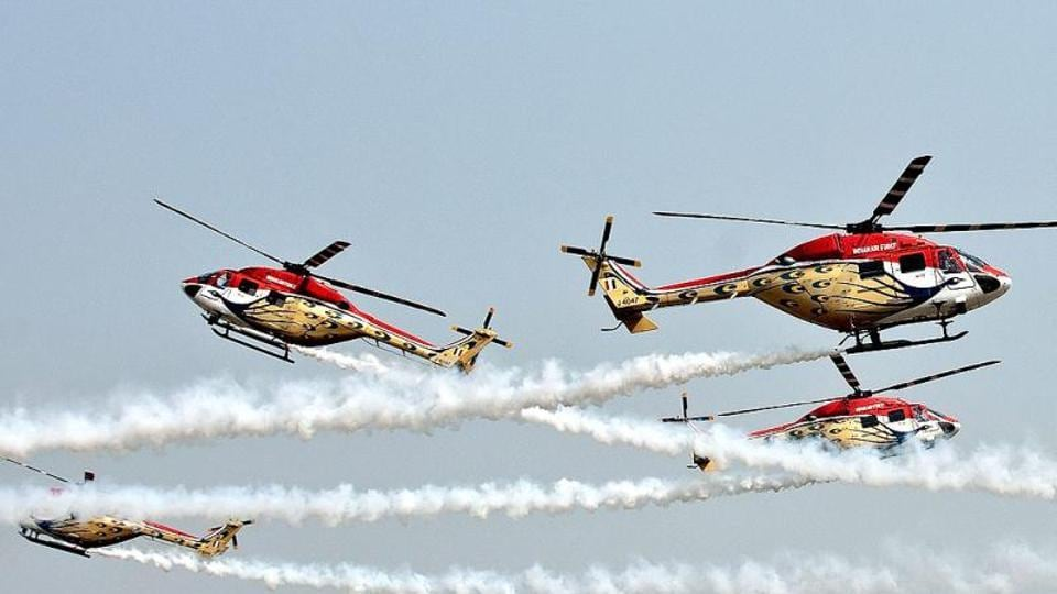 Advanced Light Helicopters (ALH) of the Indian Air Force perform during the Air Force Day parade. (File Photo)