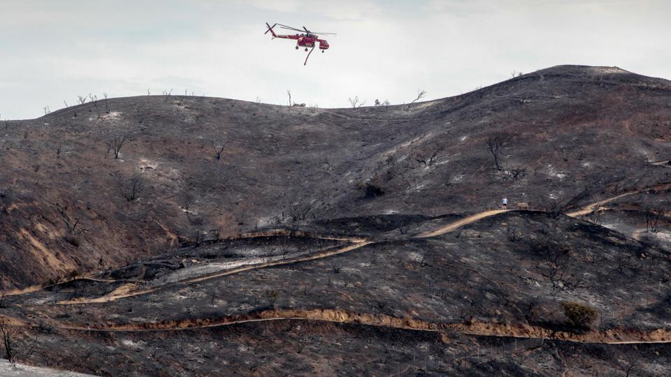 A fire helicopter flies over a charred hillside during the La Tuna Canyon fire over Burbank, California. Temperatures in the area have hovered around 100 degrees Fahrenheit (38 degrees Celsius) in recent days. But the mercury was in the low 90s on Sunday.  (Kyle Grillot / REUTERS)
