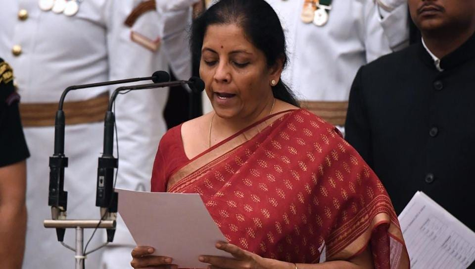 BJP politician and member of parliament Nirmala Sitharaman takes the oath during the swearing-in ceremony of new ministers at the Presidential Palace in New Delhi on September 3, 2017. Sitharaman the first woman to be appointed to the defence portfolio.
