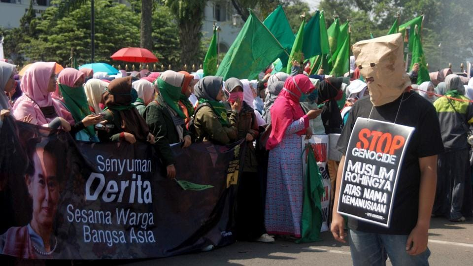 A group of Indonesian activists protest in Bandung, West Java on September 4, 2017, about the humanitarian crisis in western Myanmar's Rakhine state on the border with Bangladesh.